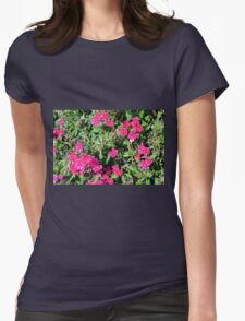 Beautiful pink flowers in the garden. Natural background. Womens T-Shirt