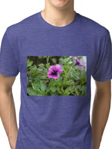 Beautiful purple flowers in the garden. Natural background. Tri-blend T-Shirt