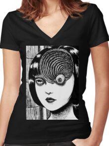 Uzumaki / Spiral - Junji Ito Tshirt (High Quality) Women's Fitted V-Neck T-Shirt