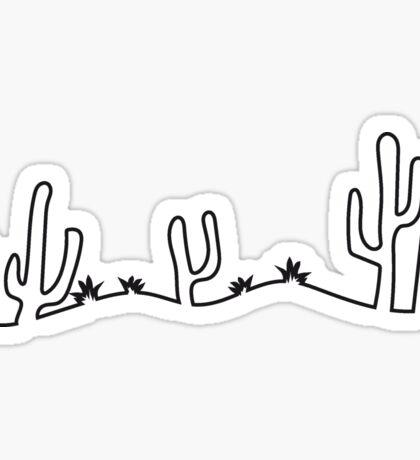 landscape grass kakten desert savanna cactus line Sticker