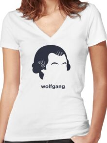 Wolfgang Mozart (Hirsute History) Women's Fitted V-Neck T-Shirt