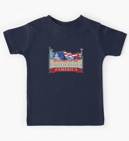 Welcome to the United States of America, US-Canada Border Road Sign, USA Kids Tee