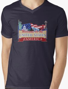 Welcome to the United States of America, US-Canada Border Road Sign, USA Mens V-Neck T-Shirt