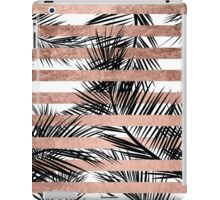 Trendy tropical palm trees chic rose gold stripes iPad Case/Skin