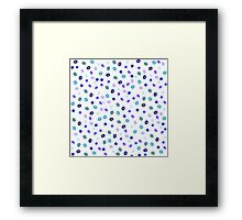 Stylish blue purple hand painted watercolor polka dots pattern Framed Print