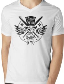 Street fight monochrome emblem Five Points Mens V-Neck T-Shirt