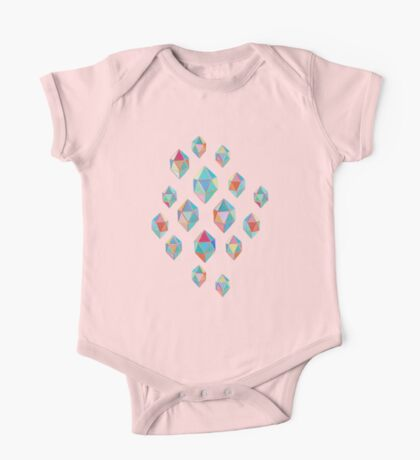 Floating Gems - a pattern of painted polygonal shapes One Piece - Short Sleeve