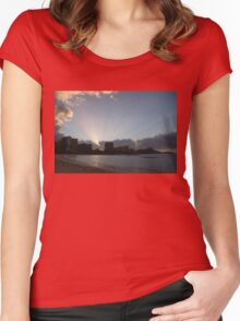 Early Birds, Famous Beach and Sun Rays - Waikiki, Honolulu, Hawaii Women's Fitted Scoop T-Shirt