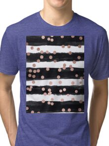Girly rose gold confetti black watercolor stripes Tri-blend T-Shirt