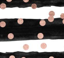 Girly rose gold confetti black watercolor stripes Sticker