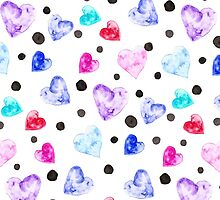 Modern watercolor hand painted love hearts pattern by GirlyTrend