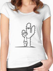 hug hug hugs cactus hugz girls, women, sweet, cute infant love comic cartoon face Women's Fitted Scoop T-Shirt