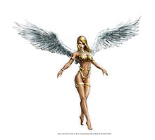 Valkyrie with wings and gold armor Photographic Print