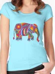 Psychedelic Elephant Women's Fitted Scoop T-Shirt