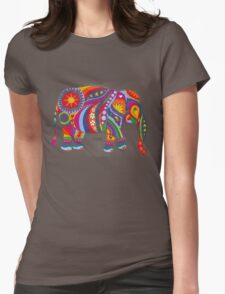Psychedelic Elephant Womens Fitted T-Shirt