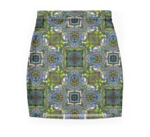 Blue Scarab Pattern in vibrant green, electric blue and violet Mini Skirt