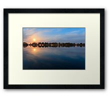 moonlight reflection in water - beautiful landscape at night Framed Print