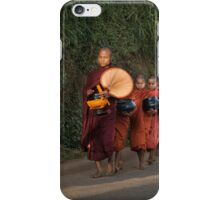 Buddhist Monks with bowls collect food donation for their meal iPhone Case/Skin