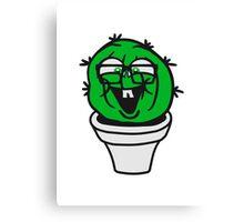 small round green sweet cute nerd geek cactus flower pot balcony clever hornbrille face laugh comic cartoon Canvas Print