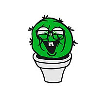 small round green sweet cute nerd geek cactus flower pot balcony clever hornbrille face laugh comic cartoon Photographic Print