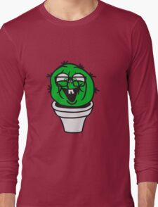 small round green sweet cute nerd geek cactus flower pot balcony clever hornbrille face laugh comic cartoon Long Sleeve T-Shirt