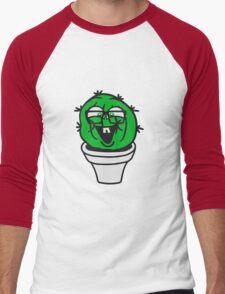 small round green sweet cute nerd geek cactus flower pot balcony clever hornbrille face laugh comic cartoon Men's Baseball ¾ T-Shirt