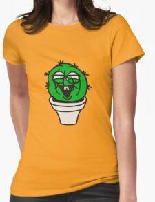 small round green sweet cute nerd geek cactus flower pot balcony clever hornbrille face laugh comic cartoon Womens Fitted T-Shirt