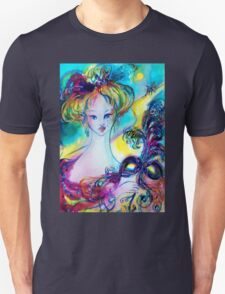 LADY WITH FEATHERED MASK Venetian Masquerade Night T-Shirt