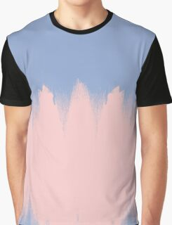 Rose Quartz Brushstrokes on Serenity Blue Graphic T-Shirt
