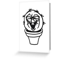 small round green sweet cute nerd geek cactus flower pot balcony clever hornbrille face laugh comic cartoon Greeting Card