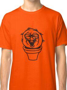 small round green sweet cute nerd geek cactus flower pot balcony clever hornbrille face laugh comic cartoon Classic T-Shirt