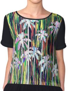 Bright Neon Multi-Colored Palm Trees and Stripes Chiffon Top