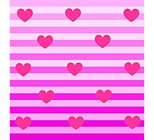 Pink Stripws With Hearts Photographic Print