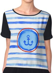 Stripes and anchor. Chiffon Top