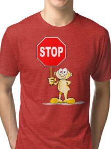 Cartoon with stop sign Tri-blend T-Shirt