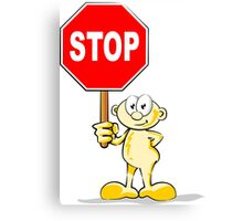 Cartoon with stop sign Canvas Print