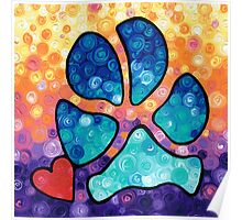 Puppy Love - Colorful Dog Paw Art By Sharon Cummings Poster