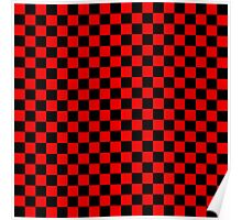 Black and Red Checkerboard Poster