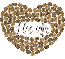 """Coffee heart """"I love coffee"""" Photographic Print"""