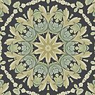 Mandala Leaves In Pale Blue, Green and Ochra by taiche