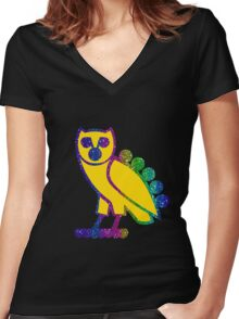 owl rainbow gliter style Women's Fitted V-Neck T-Shirt