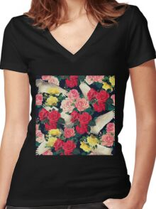 roses wings  Women's Fitted V-Neck T-Shirt