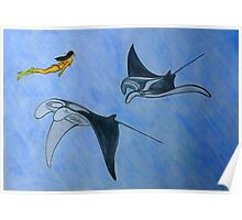 Freediving with Manta Ray Poster