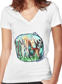In the forest of dream Women's Fitted V-Neck T-Shirt