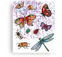 Butterfly & Insect Pattern Canvas Print
