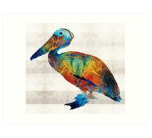 Colorful Pelican Art By Sharon Cummings Art Print