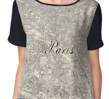 Paris Vintage Hand-drawn Map Chiffon Top