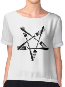Fork Pentagram (black) Chiffon Top