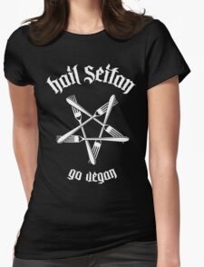 Hail Seitan - Go vegan 1.1 (white) Womens Fitted T-Shirt