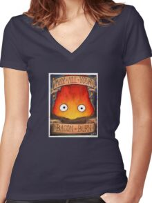 Howl's Moving Castle Illustration - CALCIFER (original)  Women's Fitted V-Neck T-Shirt